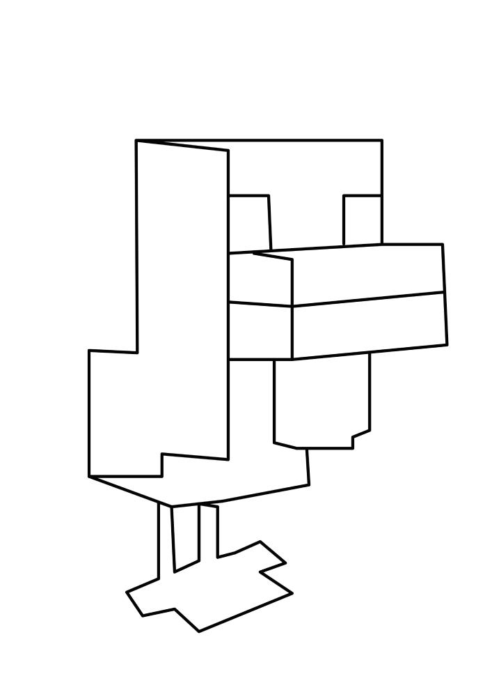 Chicken From Minecraft Coloring Book - Razukraski.com