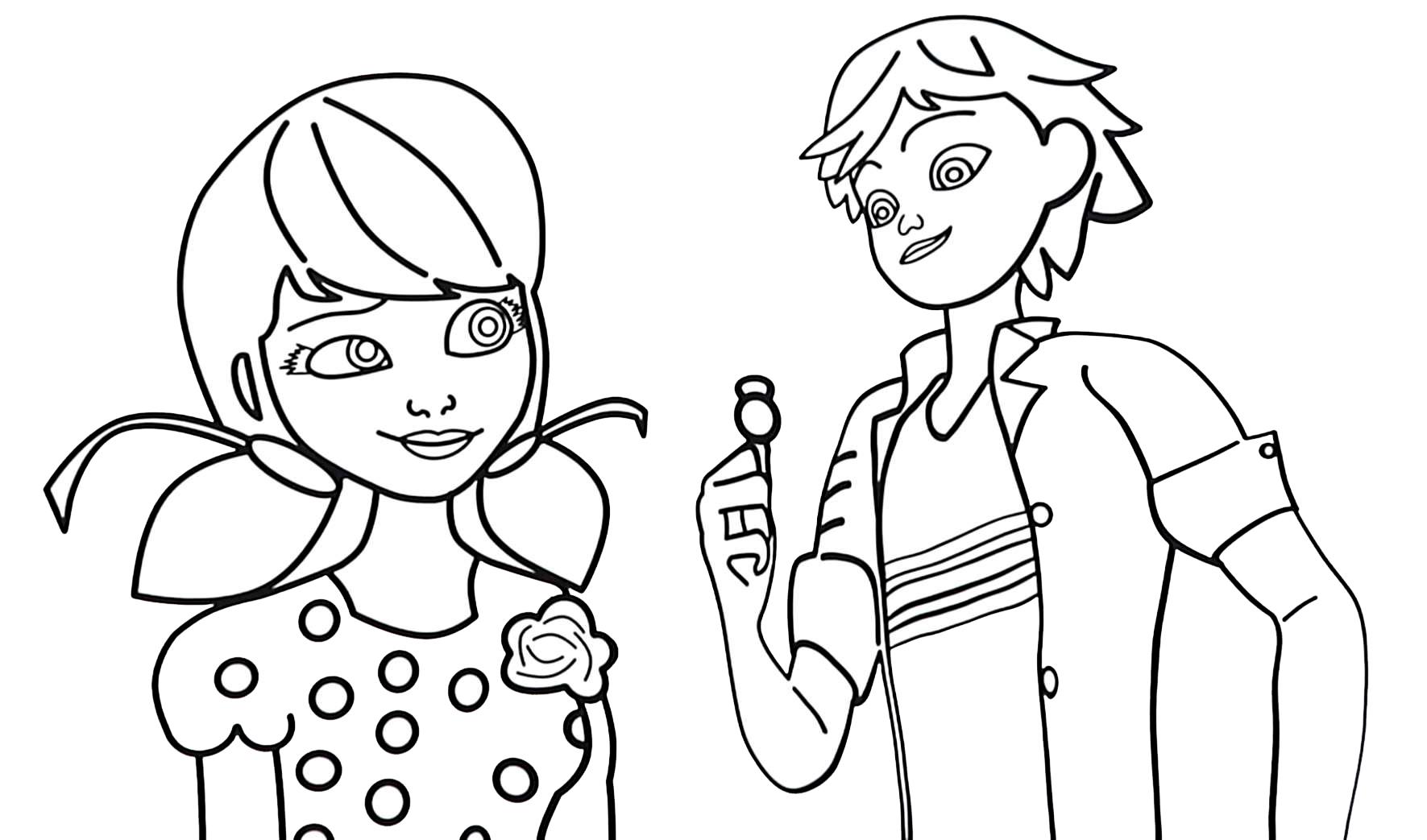 Ausmalbilder Lady Bug und Chat Noir zum drucken und herunterladen