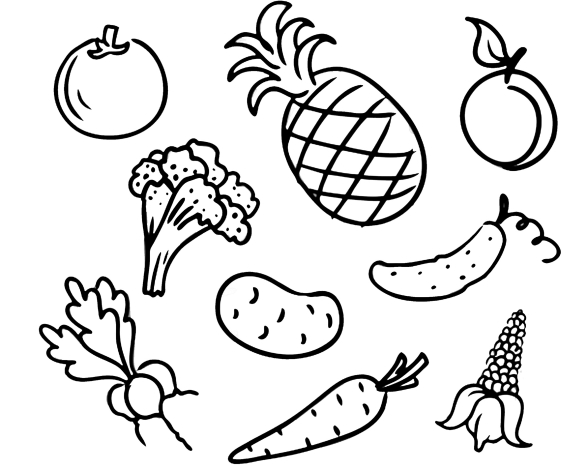 Овощи и фрукты - развивающие раскраски для детей и малышей  - Распечатать или скачать бесплатно