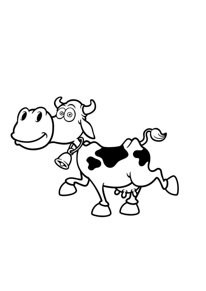 Идущая корова - раскраска для детей