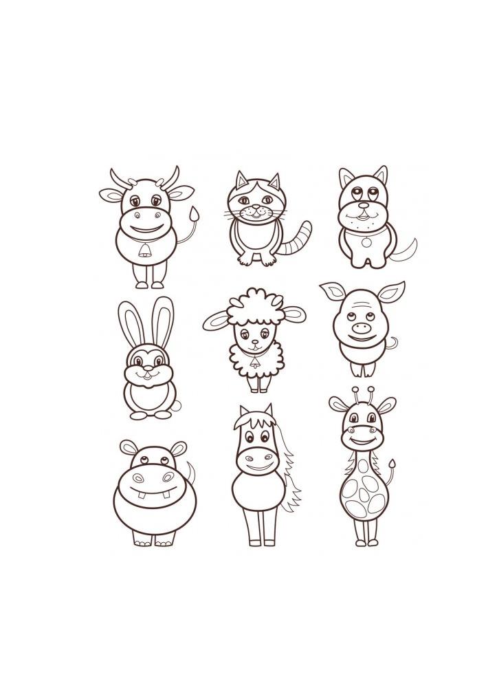 Набор разных животных, среди которых есть корова.