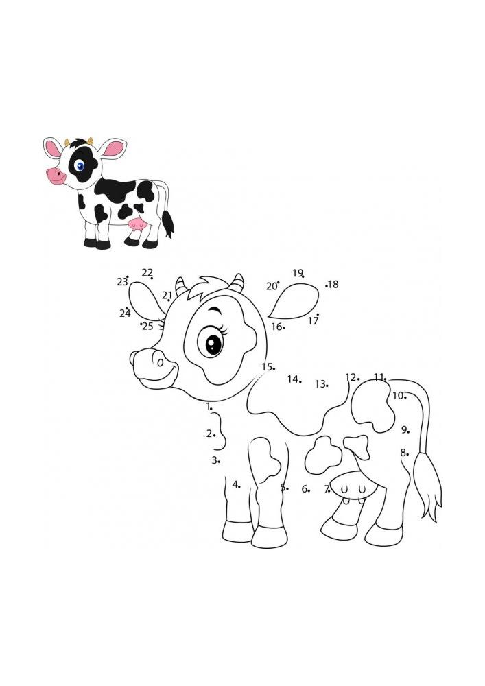 Раскраска коровы - соедини по точкам, а затем раскрась!