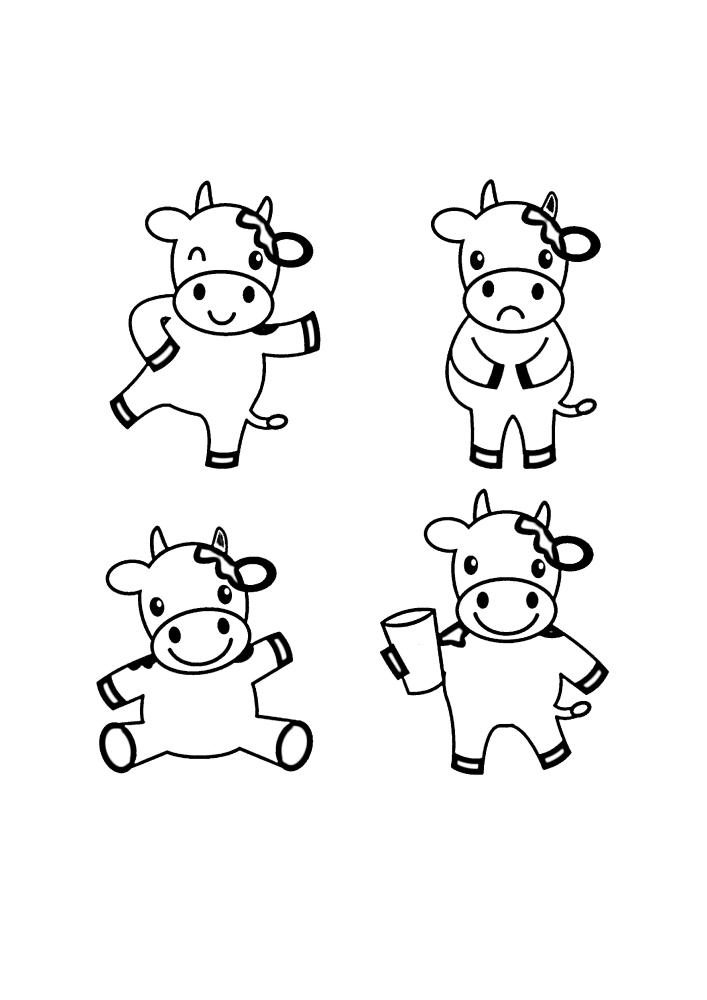 Раскраска коровы в разных позах