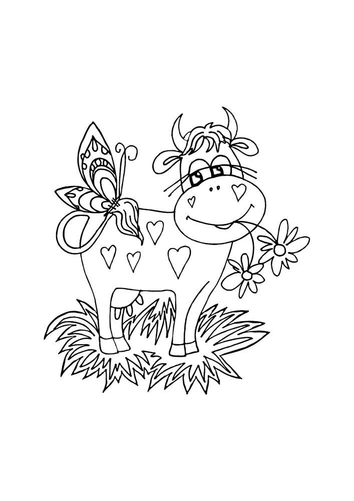 Корова дружит с бабочкой