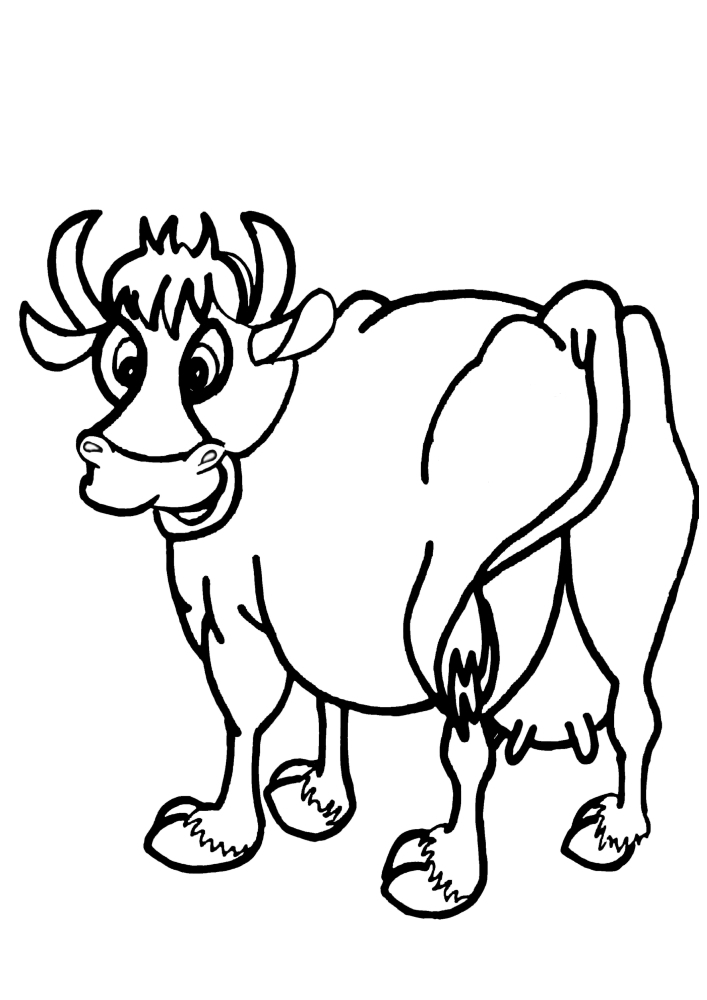 Корова развернулась, чтобы посмотреть, что происходит сзади.
