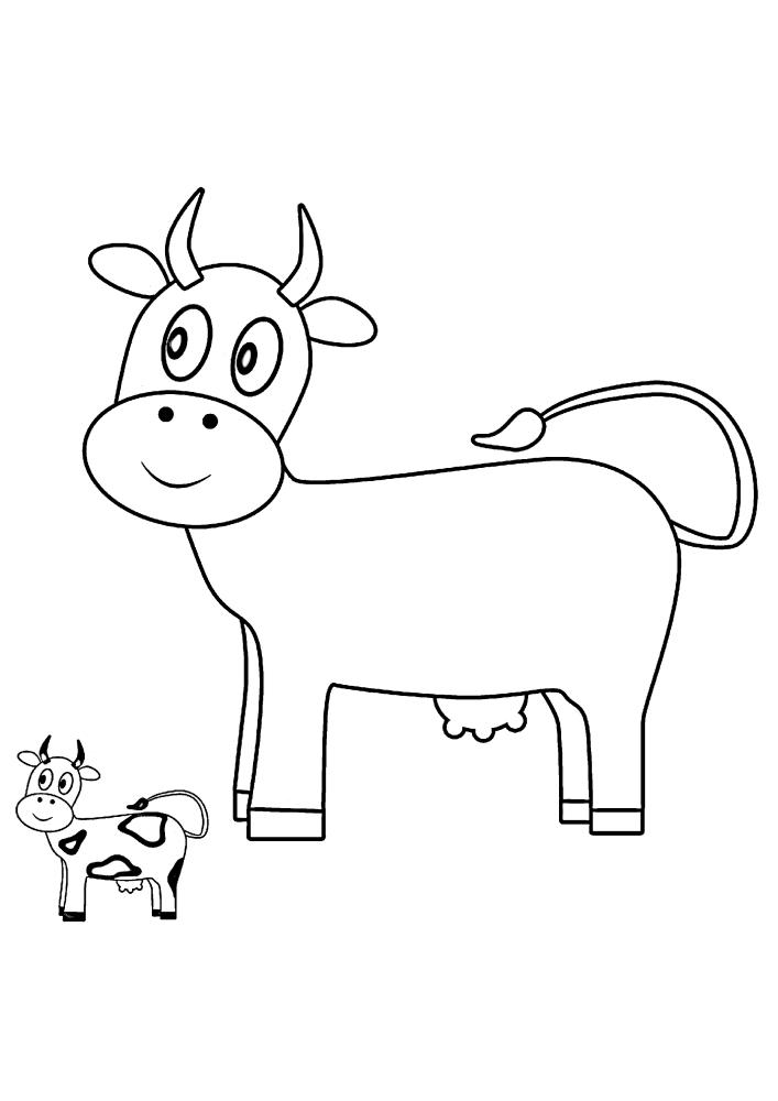 Корова - раскраска двух изображений: одно с пятнами, а другое без