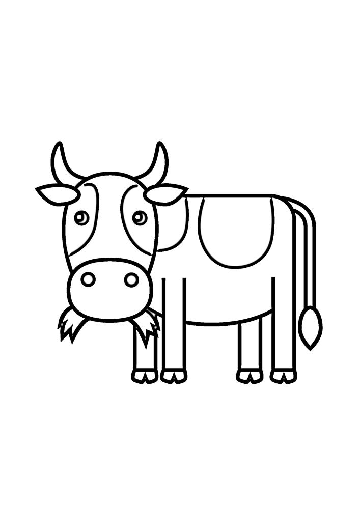 Корова жуёт траву