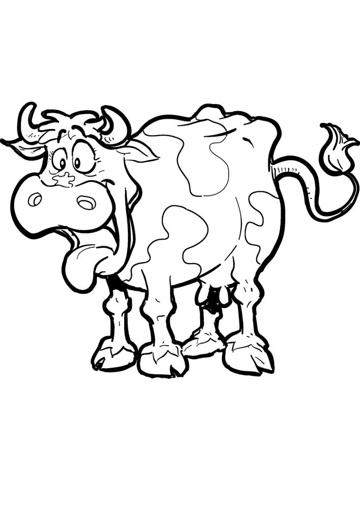 Корова пародирует собаку