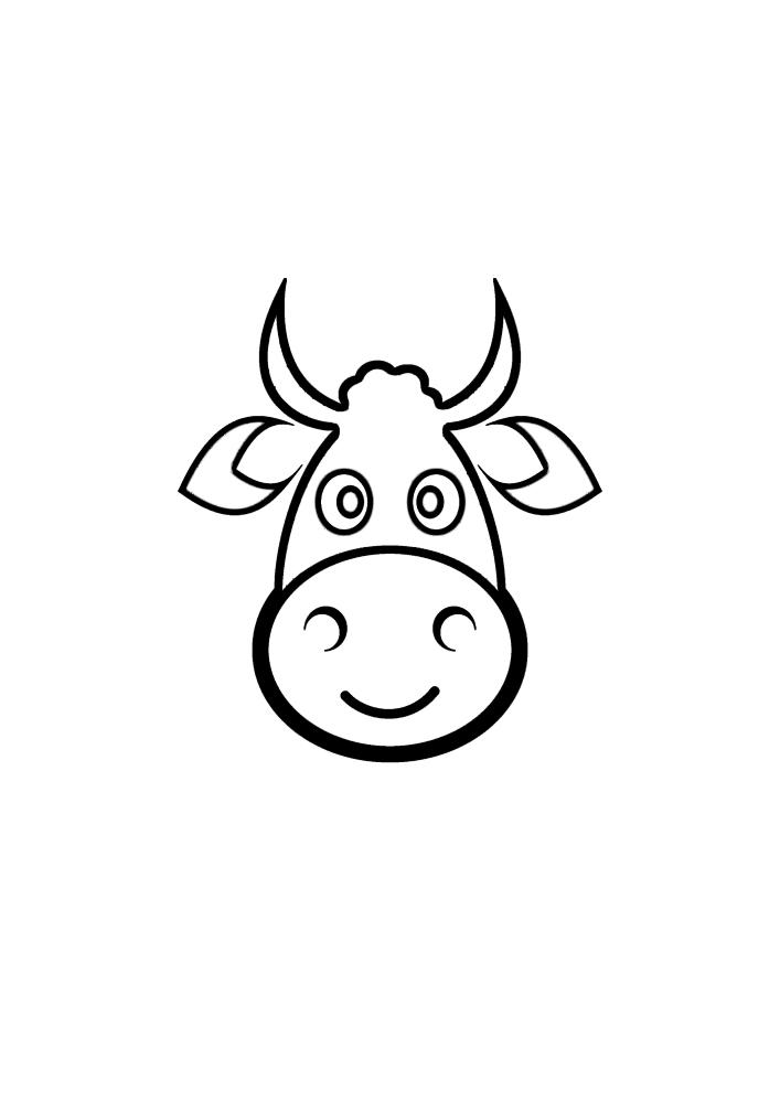 Мордочка коровы - раскраска
