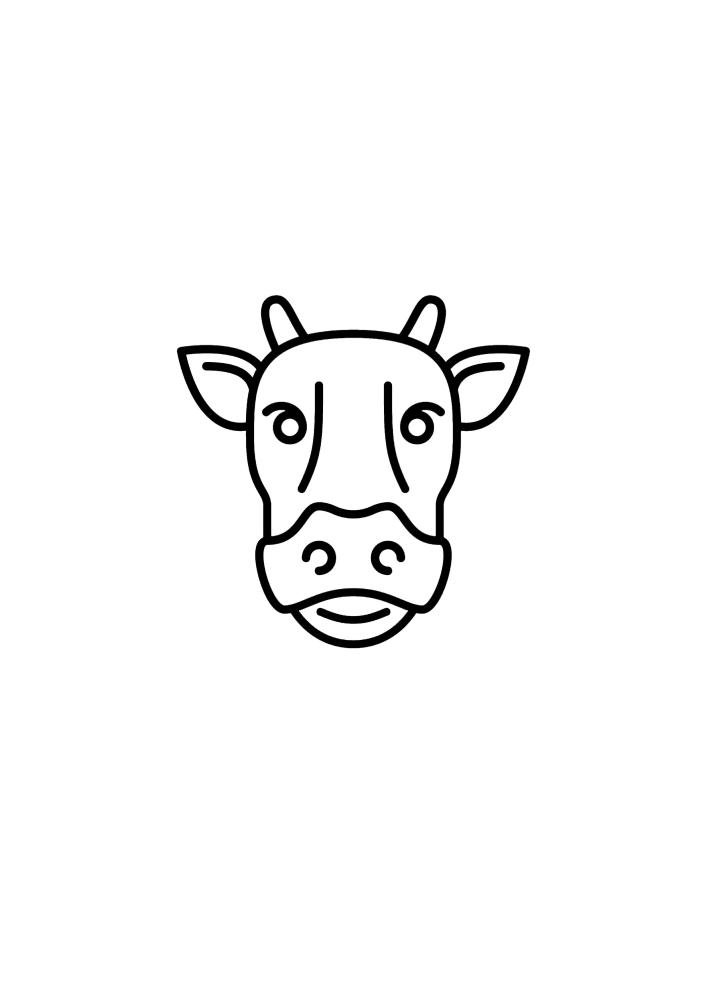 Лицо коровы - раскраска для детей