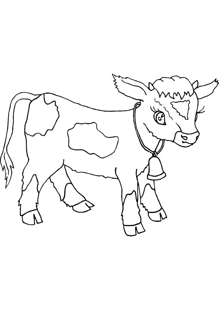 Маленький бык с колокольчиком - раскраска