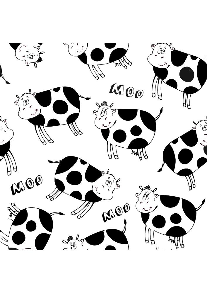 Расслабляющая раскраска с коровами