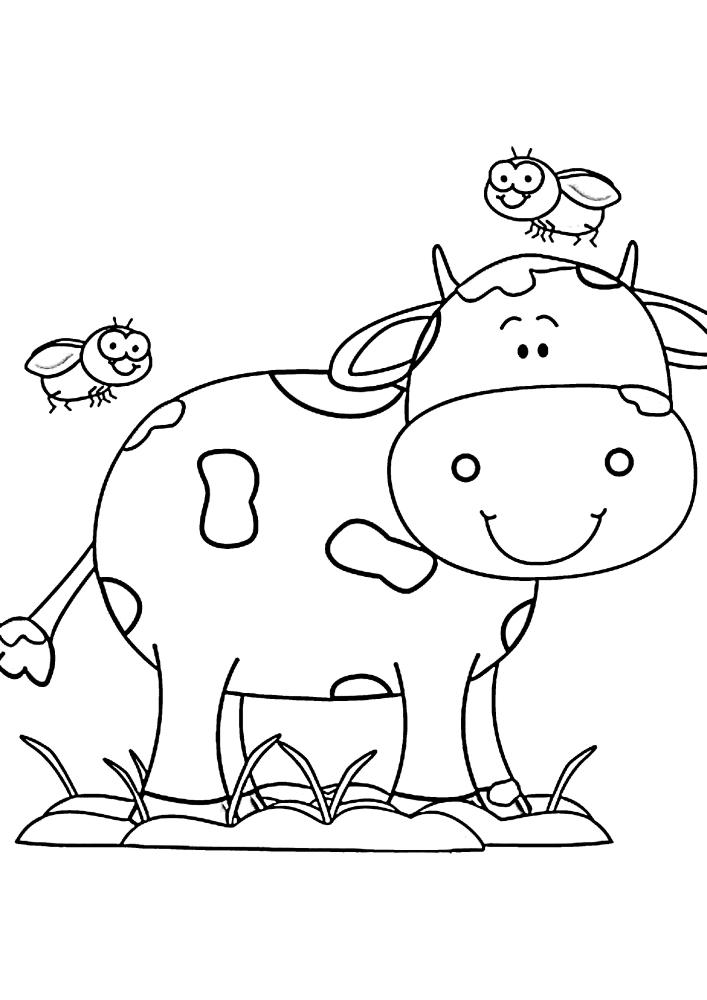 Милая корова и две мухи