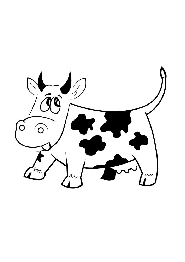 Корова посмотрела вверх, потому что услышала странные звуки