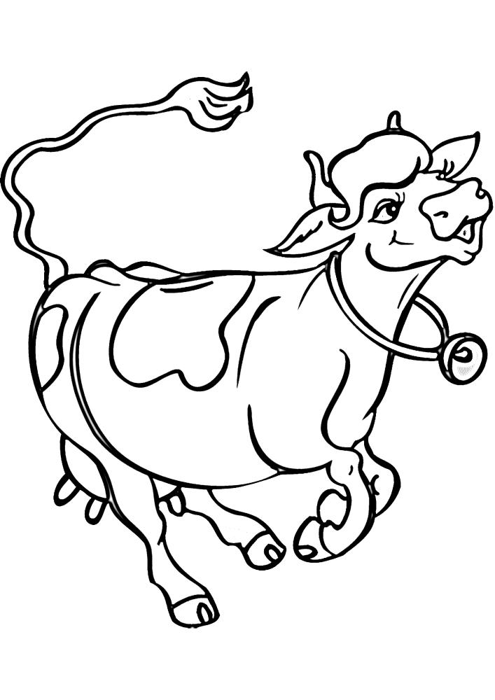 Корова скачет домой