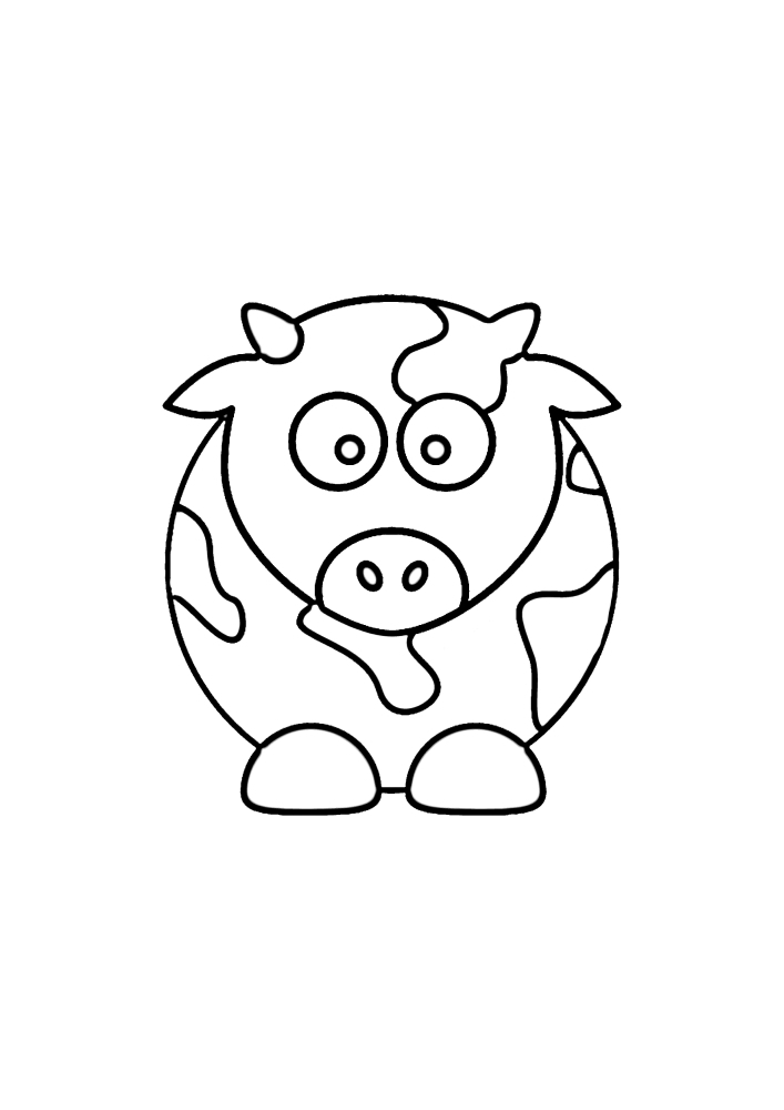 Круглая корова - раскраска