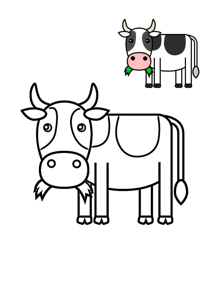 Корова держит траву во рту - раскраска с образцом разукрашивания