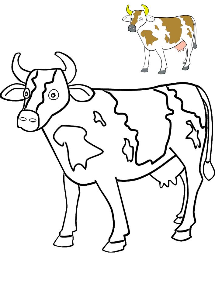Идущая корова - образец разукрашивания и черно-белая картинка