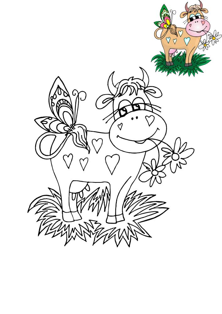 Корова с бабочкой - здесь есть образец разукрашивания