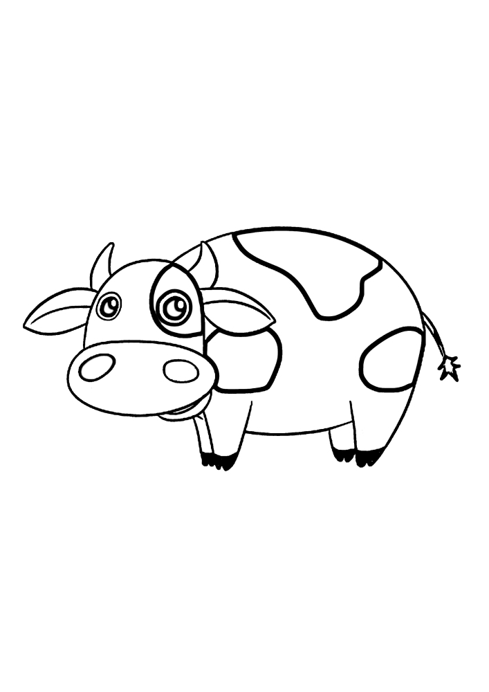 Корова - раскраска для детей