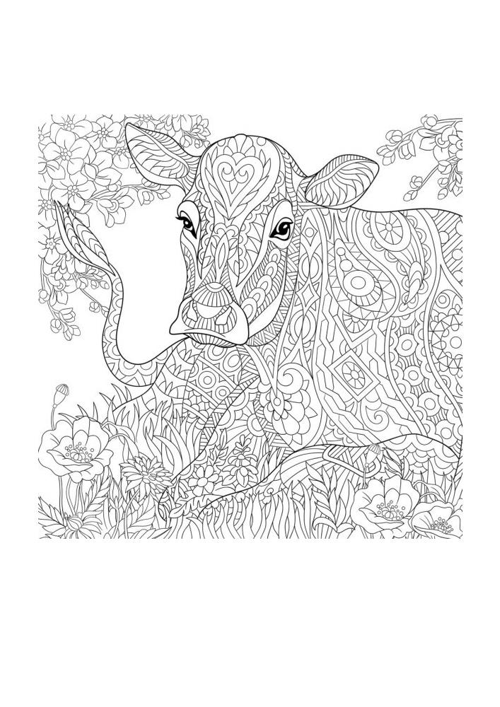Раскраска коровы, состоящая из большого количества деталей