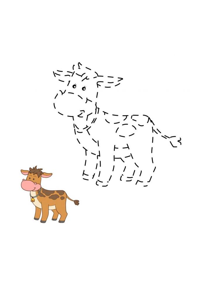Соедините линии, а затем разукрасьте - получится настоящая корова!