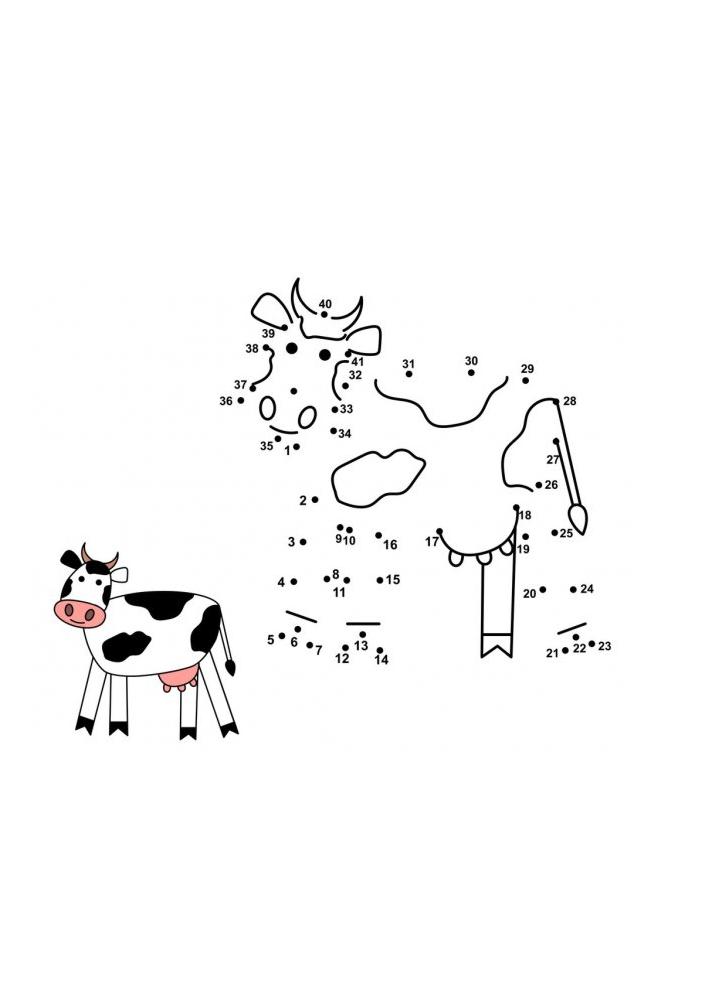 Соедините по точкам - получится корова!