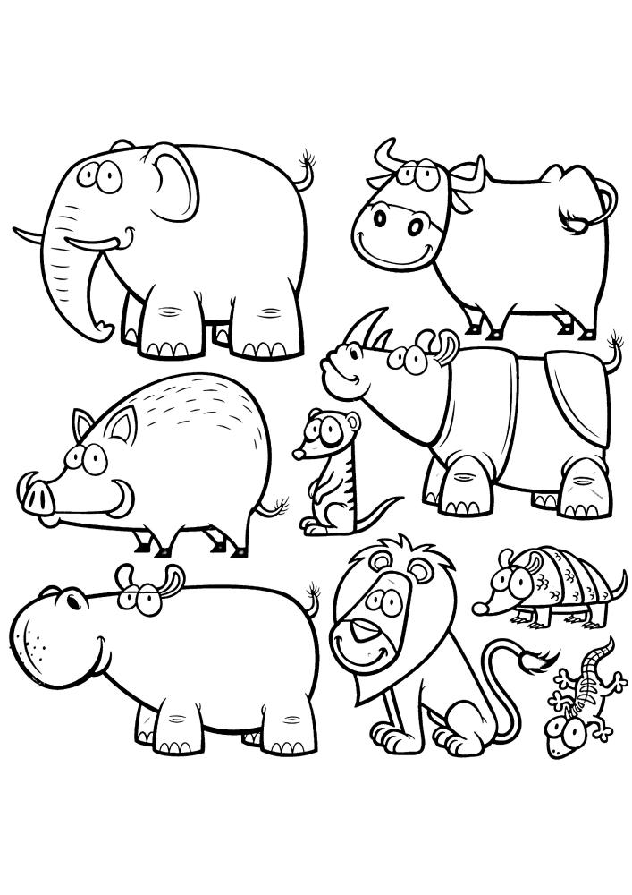 Набор разных животные, среди которых есть слон