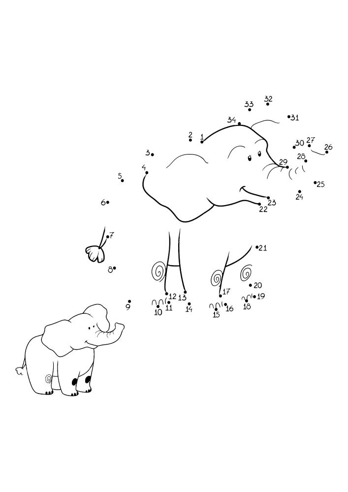 Слон - раскраска по точкам