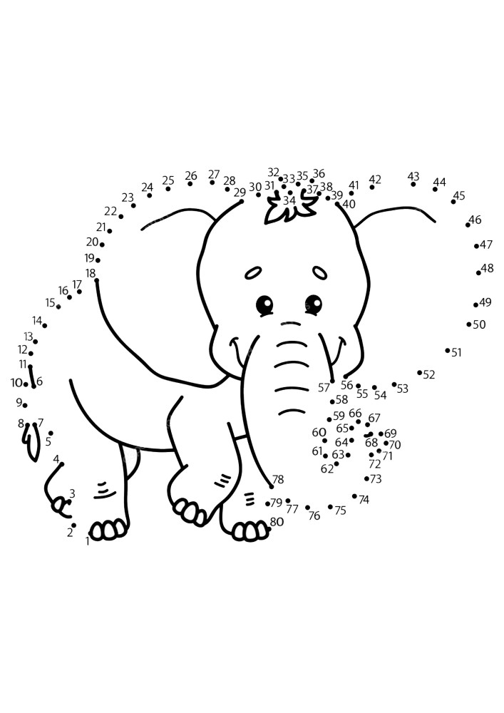 Соедините по точкам, чтобы получился слон
