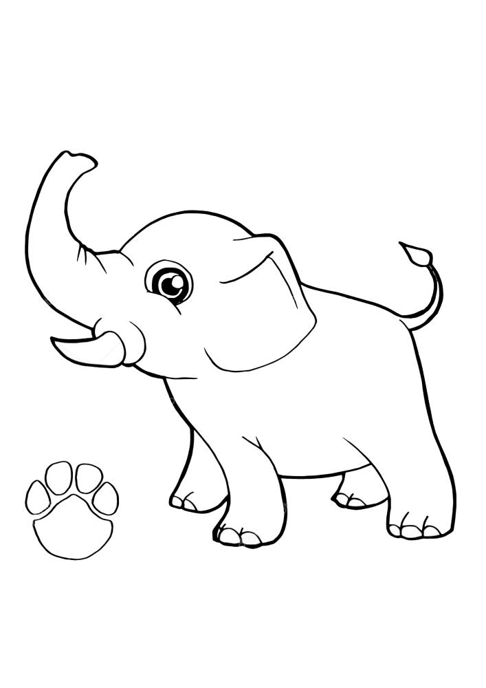 Слонёнок пытается издать громкий звук, а снизу изображен отпечаток его стопы.
