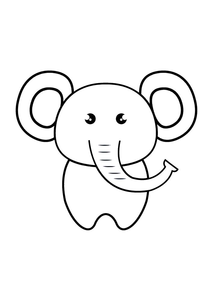 Детская раскраска слона