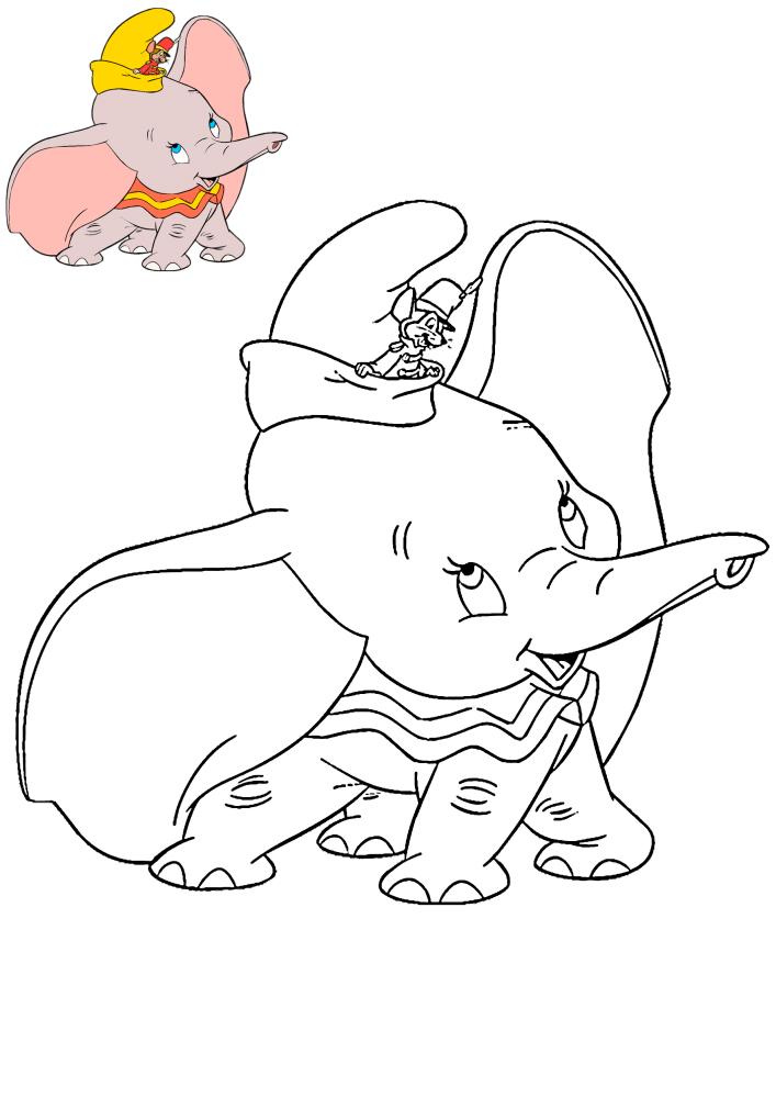 Маленький Дамбо - раскраска с образцом разукрашивания