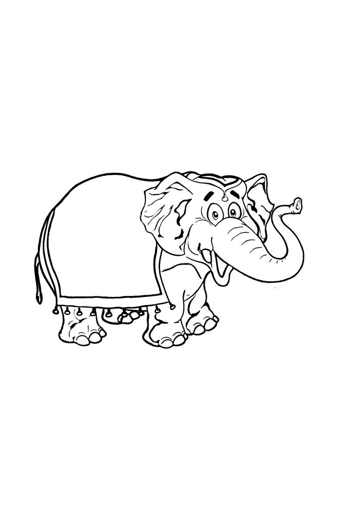 Слон, подготовленный для транспортировки туристов