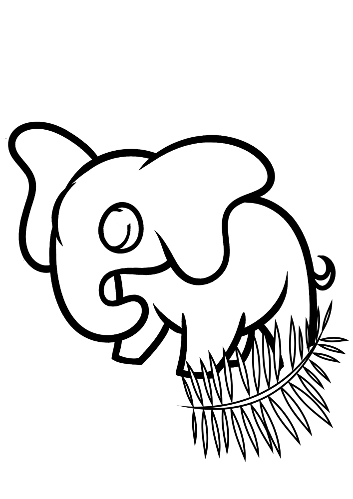 Маленький слон, спрятался за веточкой - раскраска для малышей