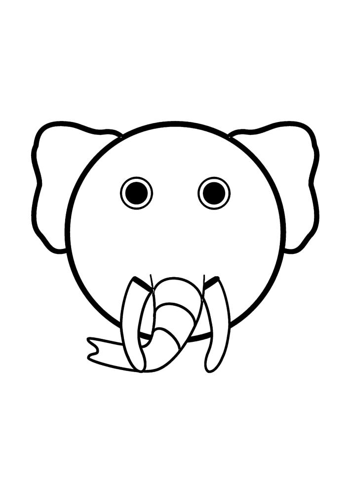 Мордочка слона - раскраска для малышей