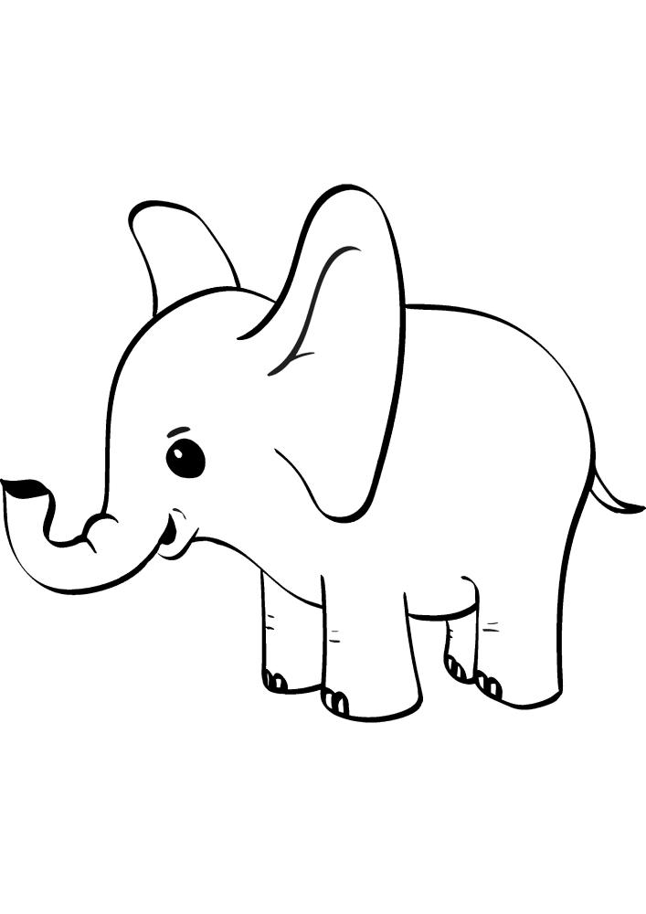 Маленький слон с большими ушами - раскраска для детей