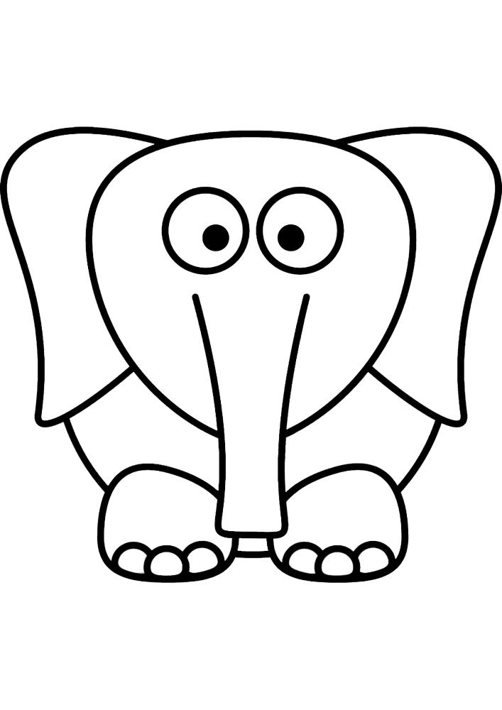 Раскраска слонёнка для малышей - лёгкая в рисовке