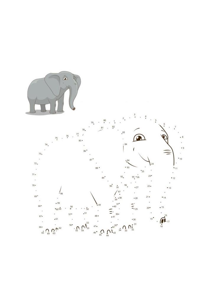 Соединить по точкам слона - раскраска