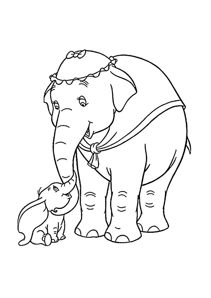 Дамбо и его мама - раскраска