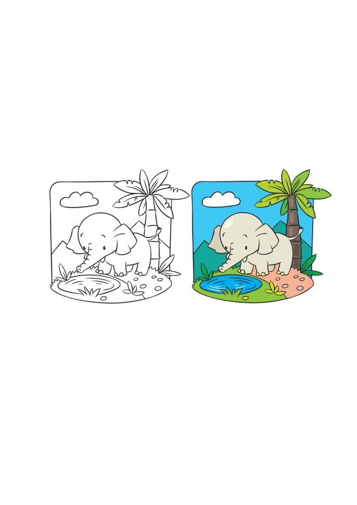 Маленький слонёнок у воды - раскраска с образцом разукрашивания