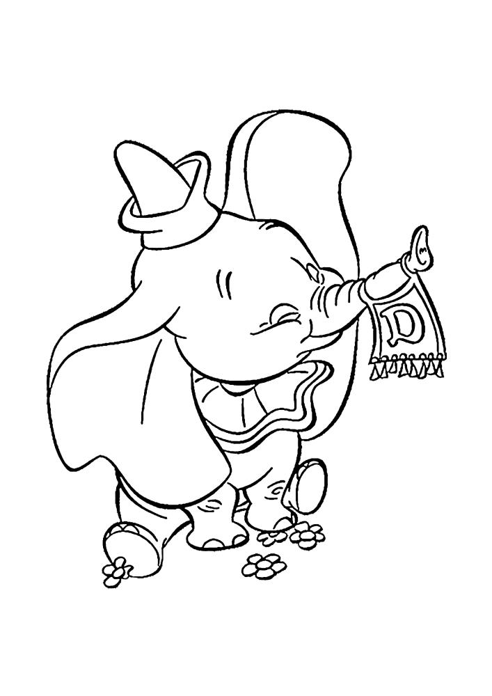 Весёлый Дамбо - раскраска для детей