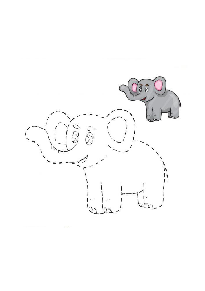 Чтобы получился слон, нужно соединить линии