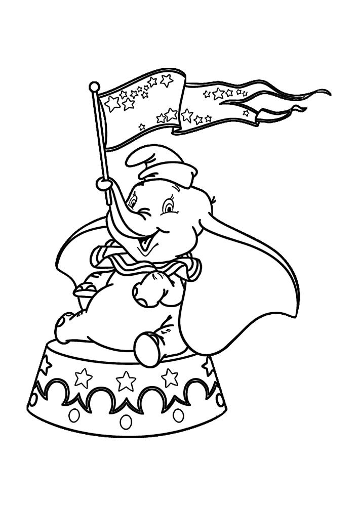 Дамбо выступает в цирке - раскраска мультяшного персонажа
