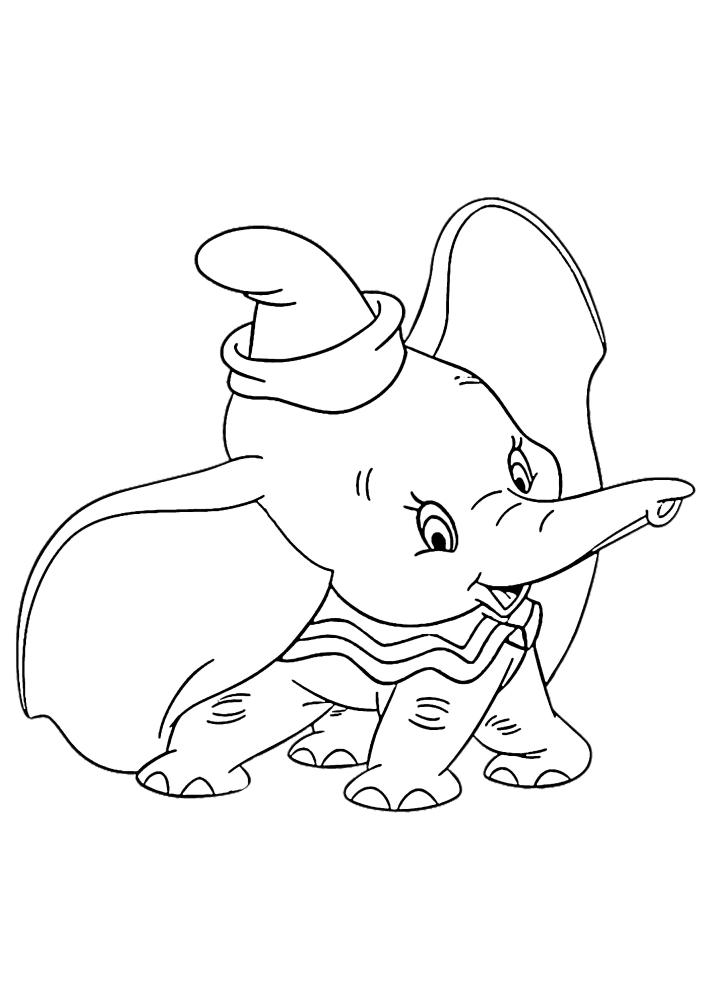 Весёлый малыш Дамбо - раскраска для детей