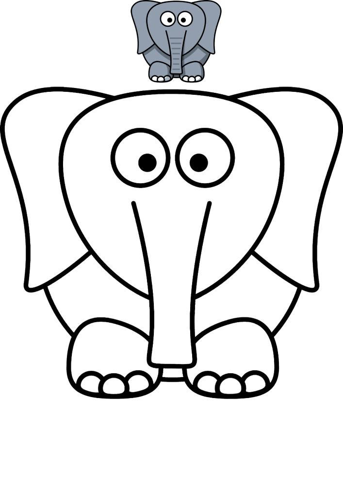 Круглый слон - раскраска с образцом разукрашивания