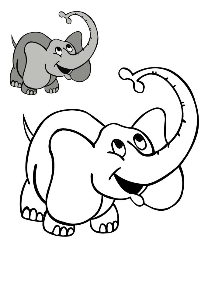 Весёлый слон - цветной и чёрно-белый вариант картинок