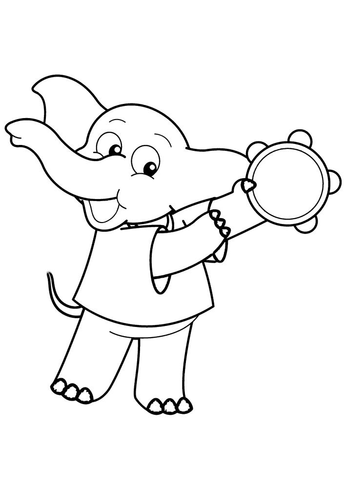 Слоник играет на бубне