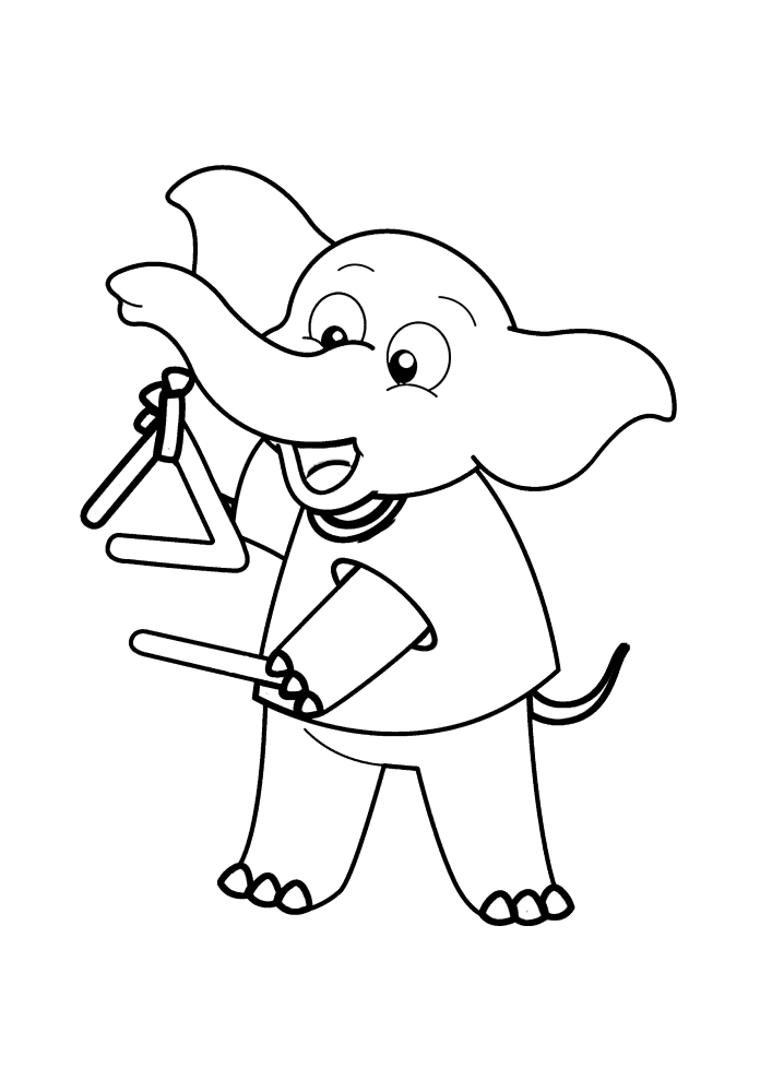 Музыкальный слоник - раскраска для детей