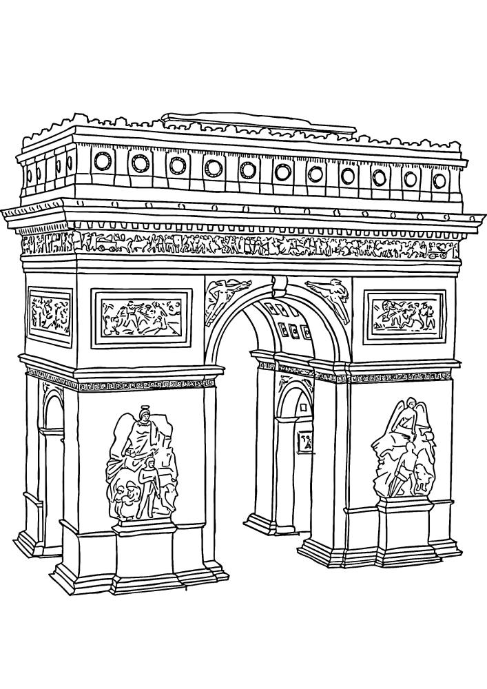 Триумфальная арка в Париже - одна из главных исторических достопримечательностей Франции